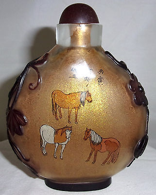 Peking Glass Snuff Bottle with Gold Dust In bedded in the glass