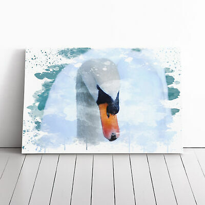 Canvas Wall Art Picture Print White Swan on a Lake (2) V3