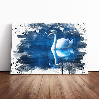 Canvas Wall Art Picture Print White Swan on a Lake (1) V3