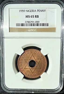 Nigeria  (British Protectorate)  1959 1 Penny  Ngc Ms-65 Rb