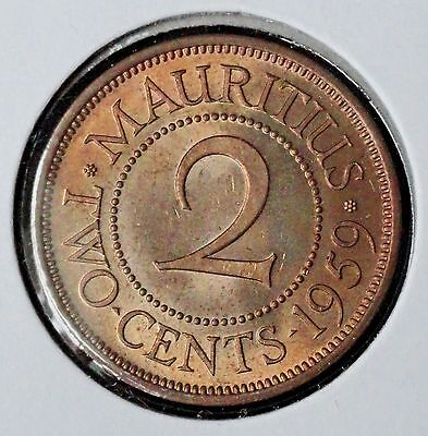 1959 Mauritius 2 Cents  Brilliant Uncirculated