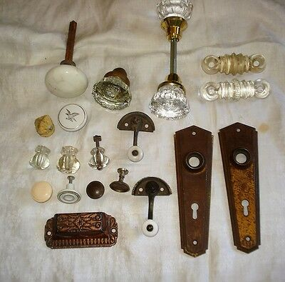 Assorted Lot Antique Cabinet Hardware GLASS DOOR KNOBS Drawer Pulls