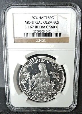Haiti 1974  50 Gourdes  Montreal Olympics  Ngc  Proof 67 Ultra Cameo   Silver