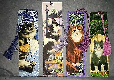 Cat Lovers ~ Lot of 4 Vintage Tassel  Bookmarks Antioch / Quality Artworks