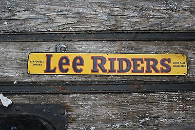 Vintage Lee Riders Embossed Tin Sign Sanforized Blue Jeans Union Made