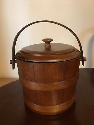 Vintage Wooden Ice Bucket Canister With Handles Barware