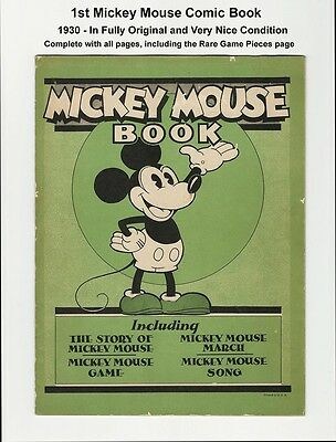 MICKEY MOUSE COMIC BOOK - NICE GRADE - RARE 1930 WALT DISNEY - 1st MICKEY COMIC!