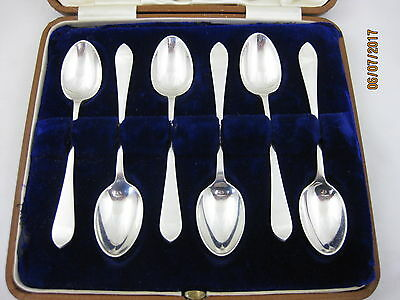 Antique Solid Silver  BOXED 6 HANOVERIAN TEA SPOONS  Hallmarked SHEFFIELD 1905