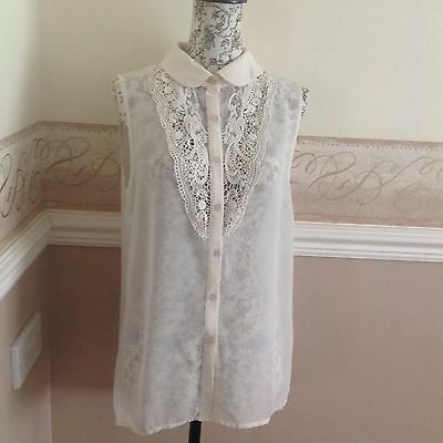 Women's Ladies New Look Cream Chiffon And Lace  Top Size 10