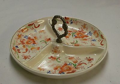 Vintage 3 Section  Handpainted Relish/nut Dish Made In Japan