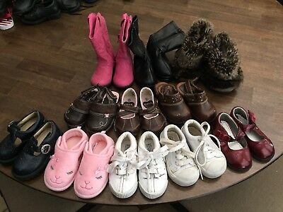 Large Lot Of Baby Girl Shoes Size 5