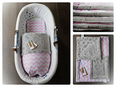 Luxury moses basket/carry cot cotton/minky bedding set,blanket&pillow,soft,cosy