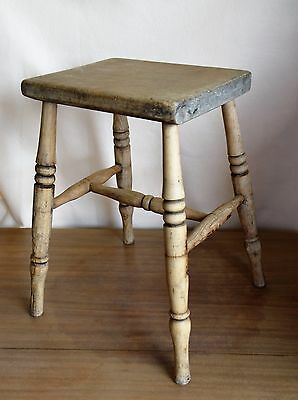Antique Elm Wood Milking Stool Seat 4 Leg Rustic Hand Made England  18""