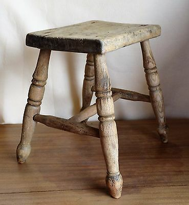 Antique Elm Wood Milking Stool Seat 4 Leg Rustic Hand Made England  15""