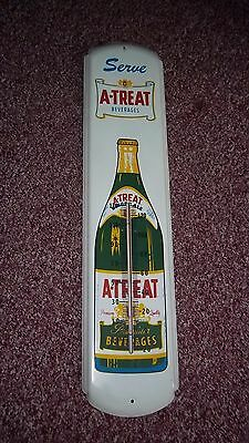 """Vtg A-Treat Beverages Soda Ginger Ale 1954 Thermometer Sign 36"""" x 8"""" NICE!!!"""