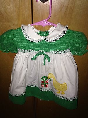Vintage Fayette Girls 12 Months Dress Short Sleeve Yellow Duck Opening Present