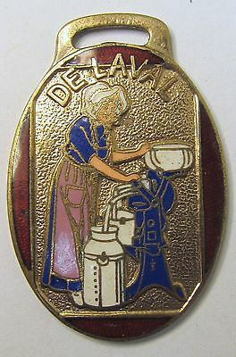 enamel inlaid DELAVAL CREAM SEPARATOR oval watch fob *