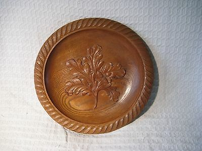 Large 13 Inch Carved Wooden Oak Platter Plate Charger Dish - Acorn Leaf