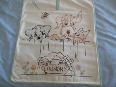 Beautiful Vintage 1920's-1930's Era Muslin Laundry Bag Embroidery Dogs
