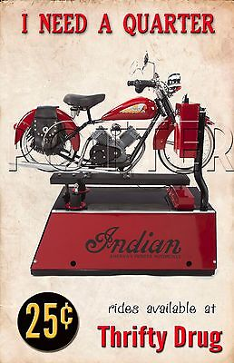 1940s Indian Motorcycle Coin Operated Ride Store Front Display Repo Poster