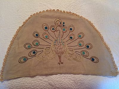 Arts & Crafts Mission PEACOCK Pillow Chair Cover Hand Embroidered Deco Vintage
