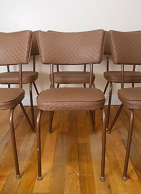 6 Vintage Retro Chrome Style Kitchen Diner Vinyl Steel Dining Chairs by Falcon
