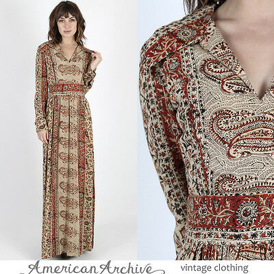 Vintage 70s Ethnic India Dress Cream Floral Draped Boho Hippie Festival Maxi M