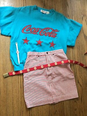 Coca Cola Vintage 1980s Outfit - Jean Skirt, Sweatshirt, Belt And Watch Size 10