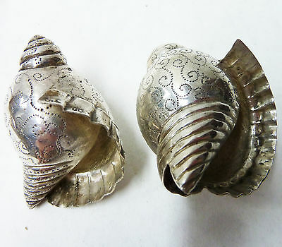 Unusuall Pair Smaller Size Continental Solid 900 Thailand Silver Seashells - 34g