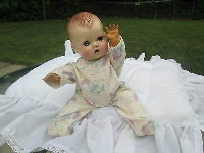 "Orig 1950s American Character Tiny Tears rubber body hard plastic head 12"" doll"