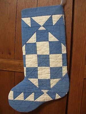 STOCKING from 1920-30s QUILT~DELECTABLE MOUNTAINS VARIATION~WILLIAMSBURG BLUE~