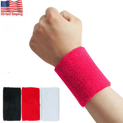 2x Wrist Sweat Bands Cotton Wristband Sweatband Sport Basketball Baseball Tennis