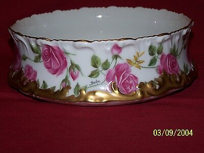Antique T&v Limoges Pudding Bowl,beautiful Pink Roses W/heavy Gold,signed Breton