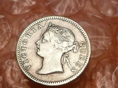 Straits Settlements1900 Silver  5 Cents Coin #1