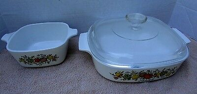 Corning Ware Spice of Life 2 dishes1 glass lid A 8-B 8x8x1 3/4, A-9-C, P 43-B