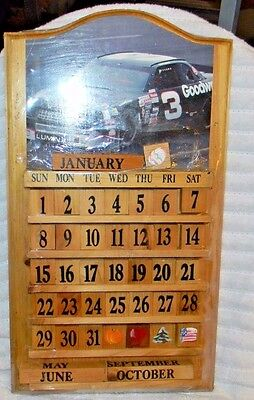 Perpetual Calendar Wood Vintage Wall Hanging With Tiles Goodwrench #3 Nascar