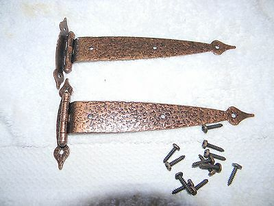 Vintage Hammered T-STRAP HINGES Copper Colonial Rustic Cabin AJAX Hardware