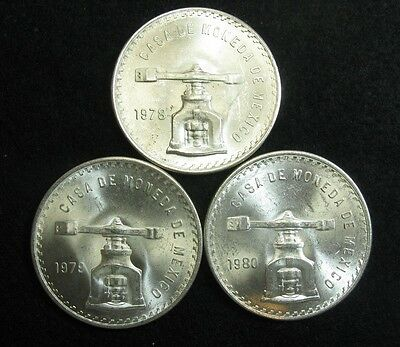 1978 Type II, 1979, 1980  MEXICO  - Large BU SILVER - 1 ONZA  - (3 coin lot)