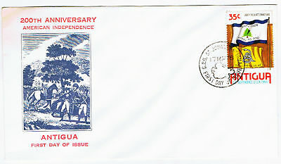 Antigua #427(1) 1976 35 cent American Liberty & Rattlesnake Flags CFDC