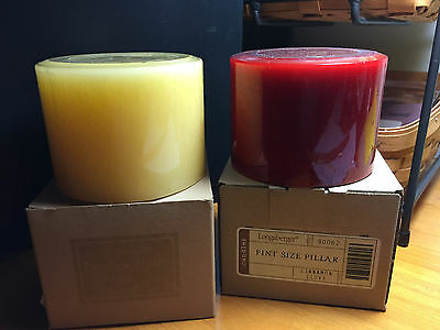Longaberger Pint Size Pillar Candle Set: Sunny Peach & Cinnamon Clove NIB