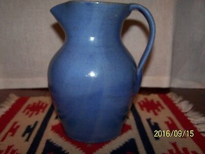 """Signed  North State Pottery  N C  2Nd Stamp  Blue Pitcher  9""""t X 6 1/2""""w  Mint !"""