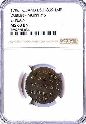 1796 Irish Colonial Dublin Farthing Conder Token, Dh 399, Ngc Ms63, Rare, Wow!