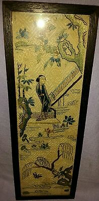 Antique 19Th Century Framed Under Glass All Silk Chinese Hand Embroidered Panel