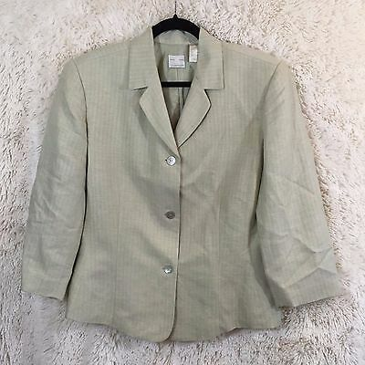 Woman's Emma James Blazer Size 16 Neutral Button Down Career Casual (i1167)
