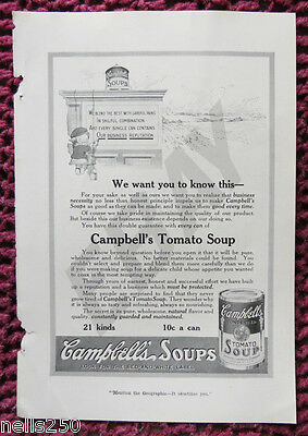Original CAMPBELL'S TOMATO SOUP Magazine Ad - 1916 -  Food - Can