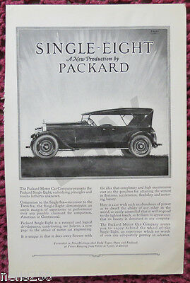 Original PACKARD Single 8 Magazine Ad - 1923 -  Automobile - Car