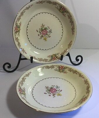 """Paden City 2 Soup Salad Pasta 8"""" Coupe Bowls Pink Blue Yellow Flower Scroll K-49"""