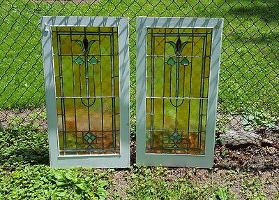 Set Of 2 Gorgeous Leaded Stained Glass Windows From Passaic, Nj, Priced To Sell!