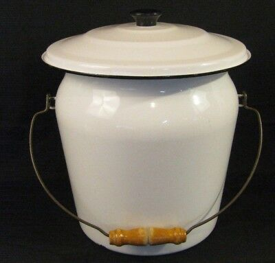 Vintage White Porcelain Enamel Chamber Pot / Diaper Pail With Wooden Bail Handle