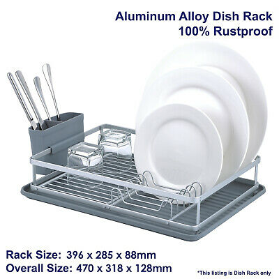 Aluminum Dish Rack, Rustproof, Stainless, Dishrack, Drainer, with Tray & Holder